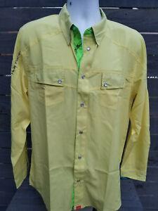 Huk Next Level Yellow Long Sleeve Button Fishing Shirt Sz L Slim Fit New