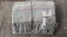 Bronte by Moon Uk 100% Merino Wool Throw – Gray / Blue / Purple Windowpane – New