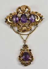 Antique Large Victorian 12ct Gold Amethyst Rococo Pendant/Brooch, c1880