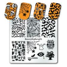 PIASTRE di stampaggio Nail Art Immagine PIASTRA ragni Halloween Web Strega TESCHIO PIPISTRELLI BB01