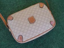 Vintage Celine Paris Crossbody Shoulder Bag Light Tan & Brown leather HandBag