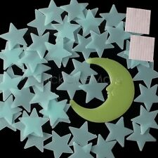 50 Glow In The Dark Star and Moon Set Plastic Shape for Ceiling Wall Decor