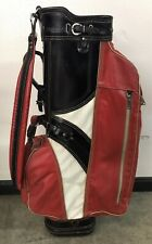 Vintage Wilson Staff Country Club Golf Bag Leather Black White Rare Made In Usa