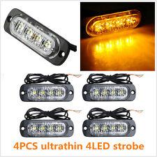 4X 4 LED Car Flash Truck Emergency Beacon Light Bar Hazard Strobe Warning Amber