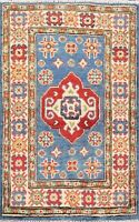 Geometric Blue Super Kazak Oriental Area Rug Wool Hand-Knotted Foyer Carpet 2x3