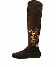$1200 Miu Miu Boots 37 PRADA Moccasin Brown Over the Knee *LOVELY* Size 7