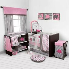 Pink Gray Elephant 10 pcs Crib Bedding Set Baby Girl Nursery Quilt Mobile Diaper