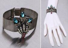 Vtg 1920s Victorian Silver Chain Mesh Blue Pink Clear Rhinestone Torch Bracelet