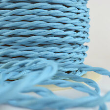 SKY BLUE - Cloth Covered Wire 25 ft - Braided wire - Fabric