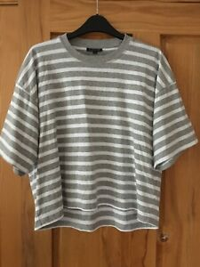 Topshop Boxy T-Shirt, Size S, Grey & White Stripe, Very Good Condition
