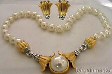 Bridal Faux Pearl Necklace Choker Flower Earrings