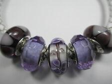 5 Pandora Silver 925 Ale Light Purple Captivating Flower Murano Glass Bead Charm