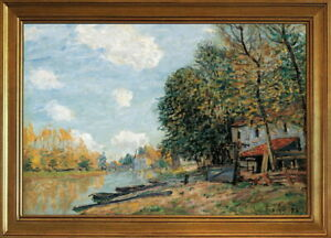 Classic Framed Alfred Sisley Moret- The Banks of the River Giclee Canvas Print