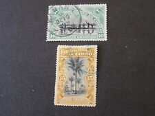 *BELGIAN CONGO, SCOTT # 31+33(2), 5c+15c. VALUES 1908 PICTORIAL OVPT ISSUE USED