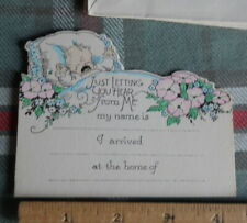 """Vintage 3 (three) Baby Announcement Cards * * 3 1/2""""In H x 4 1/2' W circa 19 _"""