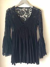 Free People With Love From India Black Lace Tunic Mini Dress Size XS Bell Sleeve