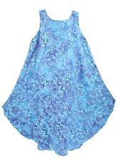 Blue Women Batik Caftan Tunic Tank Sleeveless Dress Cover Up Plus Sz XL 16