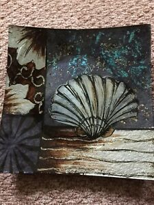 Brand new decorative square shell seashore dish plate