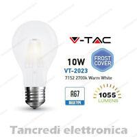 Lampadina led V-TAC 10W E27 bianco caldo 2700K VT-2023 A67 bianca filamento
