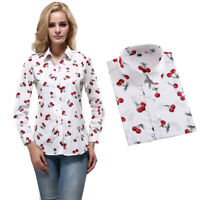 Women Long Sleeve Loose Tops T Shirt OL Ladies Plain Casual Button Blouse