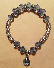 Stretch Bracelet w/Charm Faceted Crystal Beads /18K White Gold Plated Silver