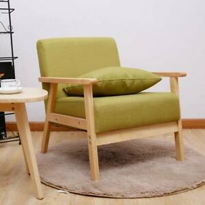 Scandinavian Retro Design Single Seater Sofa Fabric Linen Tub Chair Home Office