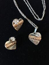 Heart Flower Necklace Earrings Set Sterling Silver & Gold Cubic Zirconia