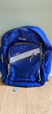 Vintage Embroidered LL Bean Large Book Bag Backpack, Blue With Reflective Strip