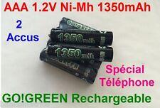 2 Piles AAA Rechargeables 1350mAh 1.2V NIMH GO! R3 R03 LR3 LR03 Batterie Accu