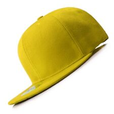 New Yellow FLAT Peak SNAPBACK Plain Blank Cap Dancer Hat Chapeau #flat #cap