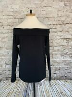 NWT J CREW Women's Off Shoulder Knit Top size L Foldover Neck Black Long Sleeve