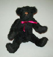 "Nice Old vtg 1980s Black Teddy Bear 13"" Tall Fully Jointed Probably Artist Made"
