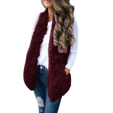 USA Ladies Women Lady Faux Fur Solid Casual Sleeveless Warm Vest Waistcoat Nice