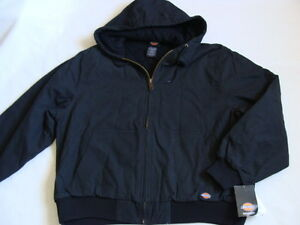 NWT Men's Cotton Duck Jacket Size XL Black Insulated Sanded Work Coat Dickies