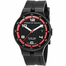 Porsche Design Men's Flat 6 Auto Black Rubber Dial Watch - porsched-6351-43-44-1