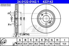 2x Bremsscheibe für Bremsanlage Vorderachse ATE 24.0122-0142.1