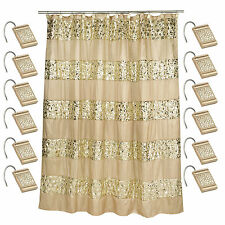Popular Bath Sinatra Champagne 70 X 72 Bathroom Fabric Shower Curtain Hook Set