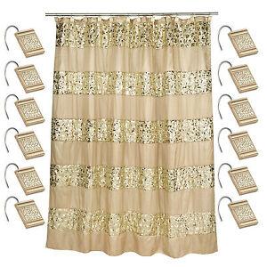 Popular Bath Sinatra Champagne 70 x 72 Bathroom Fabric Shower Curtain & Hook Set
