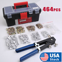 464 PCS Heavy Duty Blind Rivet Nut Rivnut Nutsert Insert Tool Rivnuts Set Kit