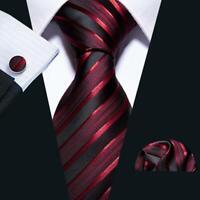 Red Burgundy Stripe Black Tie Set Silk Jacquard Woven Mens Wedding Necktie Party