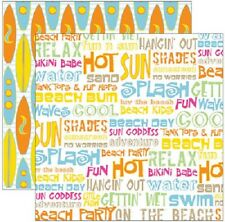 """Reminisce BEACH PARTY 12""""x12""""  Shimmer Paper Scrapbooking x2 Sheets"""