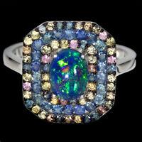 Oval Black Opal 8x6mm Sapphire Round Diamond Cut 925 Sterling Silver Ring