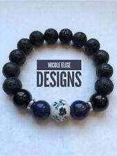 Aromatherapy diffuser bracelet lava stones Lapis/black Agate Blue Floral Bead