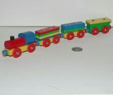 Colorful Wooden Railway Train Lot x4 Stacking Cargo Cars - works w/ Thomas, BRIO