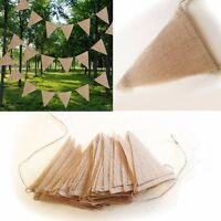 10M 48 Flags Jute Rustic Hessian Burlap Bunting Banner Flag Wedding Party
