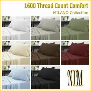 NEW Luxury Bedding 4pc SHEET SET Double Queen King Super King 40cm Deep Pocket