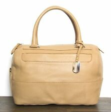 FURLA TAN BEIGE GENUINE LEATHER LOGO CHARM DOCTOR SATCHEL HANDBAG PURSE TOTE BAG
