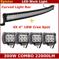 """52inch 300W Curved LED Work Light Bar Combo Offroad Truck 18W 4"""" CREE Spot Pods"""