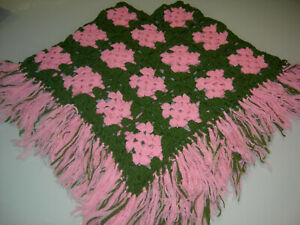 Girls Crochet Pink & Green Poncho - Suit age 4-7 yrs