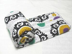 Indian Cotton Ethnic Suzani Print Queen Bedding Bedspread Coverlet Kantha Quilt
